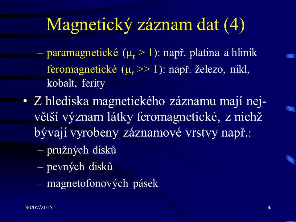 30/07/20154 Magnetický záznam dat (4) –paramagnetické (  r > 1): např. platina a hliník –feromagnetické (  r >> 1): např. železo, nikl, kobalt, feri