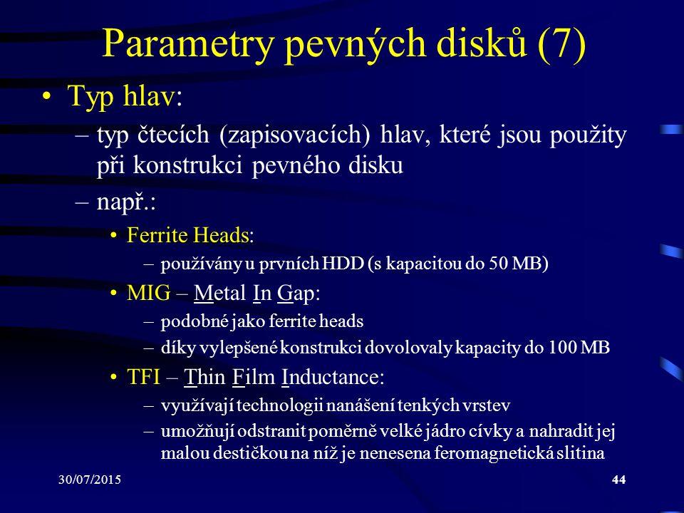 30/07/201544 Parametry pevných disků (7) Typ hlav: –typ čtecích (zapisovacích) hlav, které jsou použity při konstrukci pevného disku –např.: Ferrite H