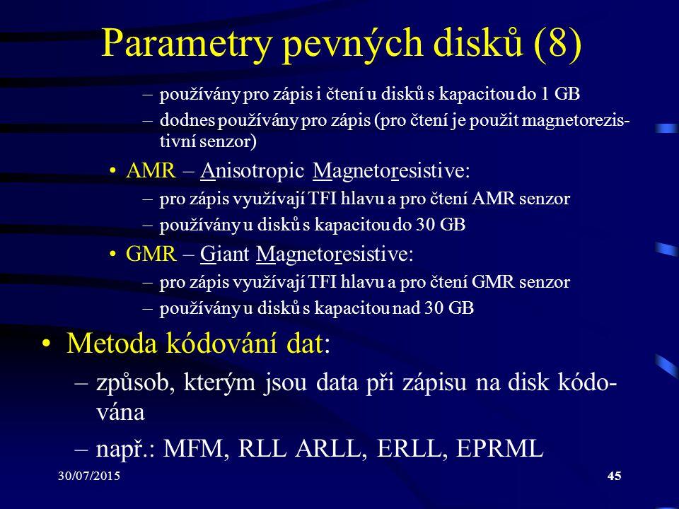 30/07/201545 Parametry pevných disků (8) –používány pro zápis i čtení u disků s kapacitou do 1 GB –dodnes používány pro zápis (pro čtení je použit mag