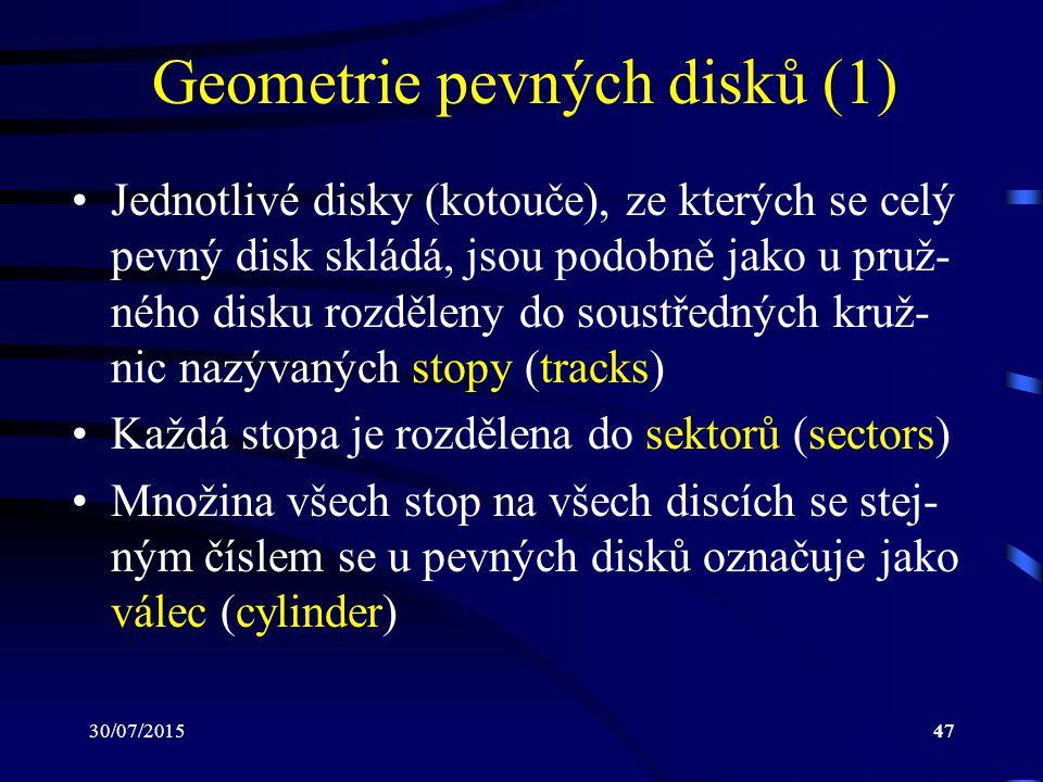 30/07/201547 Geometrie pevných disků (1) Jednotlivé disky (kotouče), ze kterých se celý pevný disk skládá, jsou podobně jako u pruž- ného disku rozděl