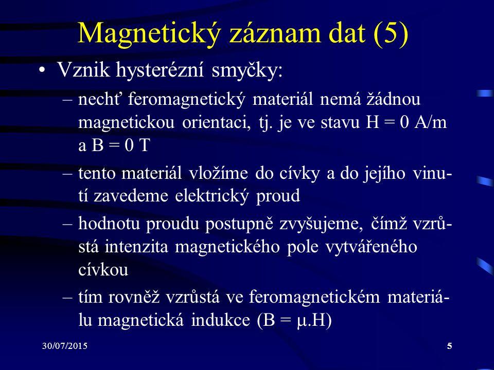 30/07/20155 Magnetický záznam dat (5) Vznik hysterézní smyčky: –nechť feromagnetický materiál nemá žádnou magnetickou orientaci, tj. je ve stavu H = 0