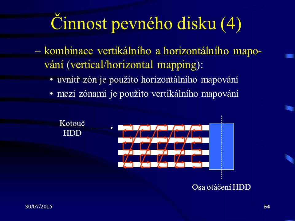 30/07/201554 Činnost pevného disku (4) –kombinace vertikálního a horizontálního mapo- vání (vertical/horizontal mapping): uvnitř zón je použito horizo
