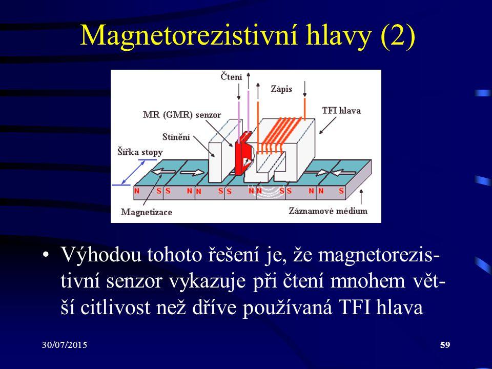 30/07/201559 Magnetorezistivní hlavy (2) Výhodou tohoto řešení je, že magnetorezis- tivní senzor vykazuje při čtení mnohem vět- ší citlivost než dříve