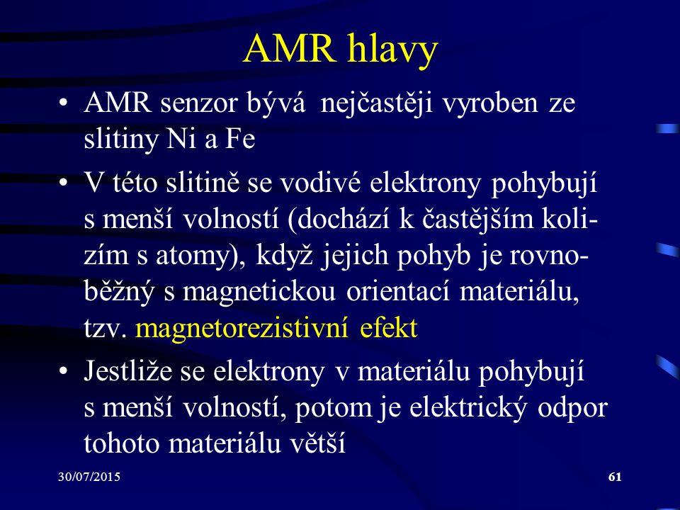 30/07/201561 AMR hlavy AMR senzor bývá nejčastěji vyroben ze slitiny Ni a Fe V této slitině se vodivé elektrony pohybují s menší volností (dochází k č