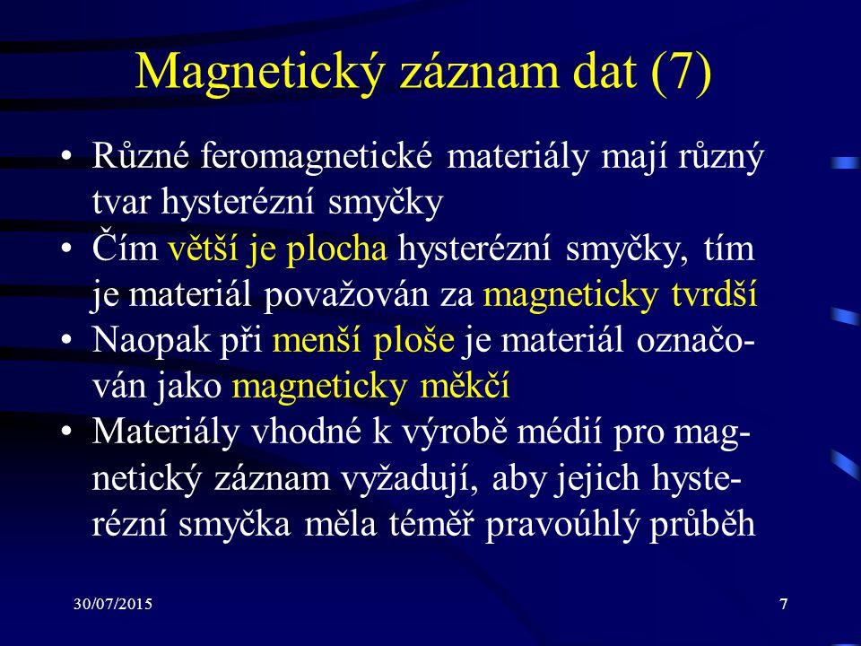 30/07/20157 Magnetický záznam dat (7) Různé feromagnetické materiály mají různý tvar hysterézní smyčky Čím větší je plocha hysterézní smyčky, tím je m