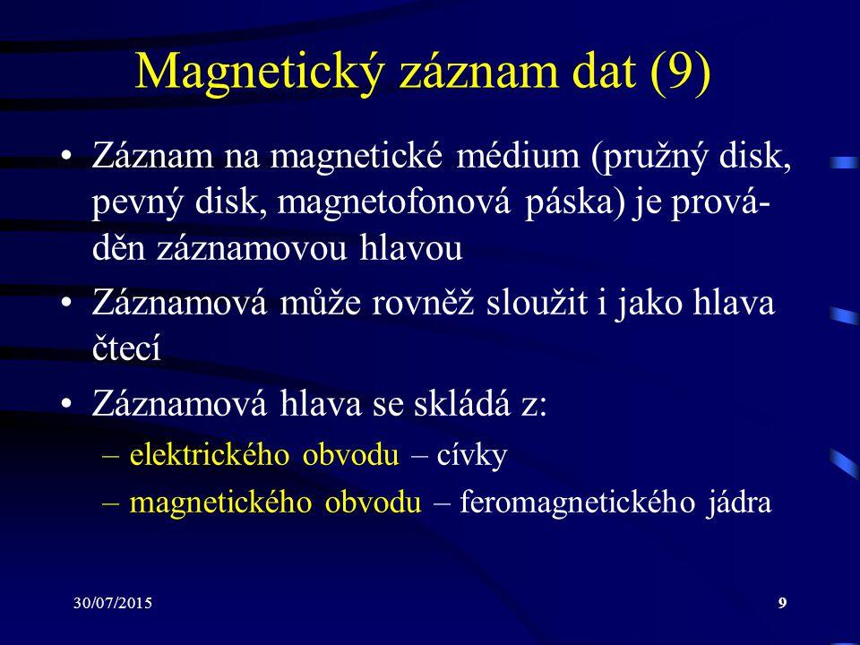 30/07/201510 Magnetický záznam dat (10) Feromagnetické jádro obsahuje štěrbinu (o šířce cca 1 mikron), která umožňuje uzavírání indukčních čar přes magnetické médium, které se nachází v těsné blízkosti hlavy V médiu takto vzniká magnetická indukce, která se poté, kdy přestaneme na materiál působit magnetickým polem, ustálí na hodnotě remanence a v médiu tak vznikají tzv.