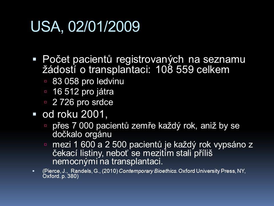 USA, 02/01/2009  Počet pacientů registrovaných na seznamu žádostí o transplantaci: 108 559 celkem  83 058 pro ledvinu  16 512 pro játra  2 726 pro srdce  od roku 2001,  přes 7 000 pacientů zemře každý rok, aniž by se dočkalo orgánu  mezi 1 600 a 2 500 pacientů je každý rok vypsáno z čekací listiny, neboť se mezitím stali příliš nemocnými na transplantaci.