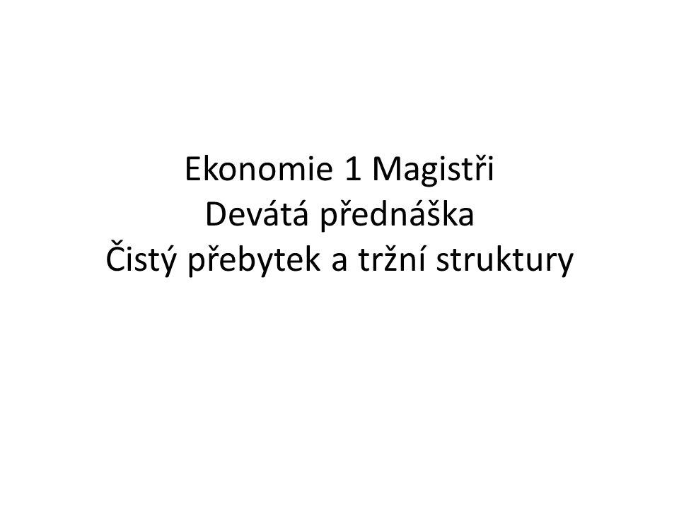 Ekonomie 1 Magistři Devátá přednáška Čistý přebytek a tržní struktury
