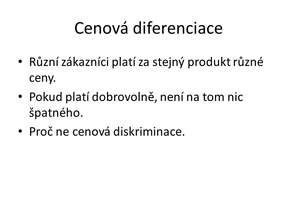 Cenová diferenciace Různí zákazníci platí za stejný produkt různé ceny. Pokud platí dobrovolně, není na tom nic špatného. Proč ne cenová diskriminace.