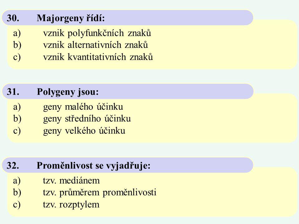 a)vznik polyfunkčních znaků b)vznik alternativních znaků c)vznik kvantitativních znaků 30.Majorgeny řídí: a)geny malého účinku b)geny středního účinku