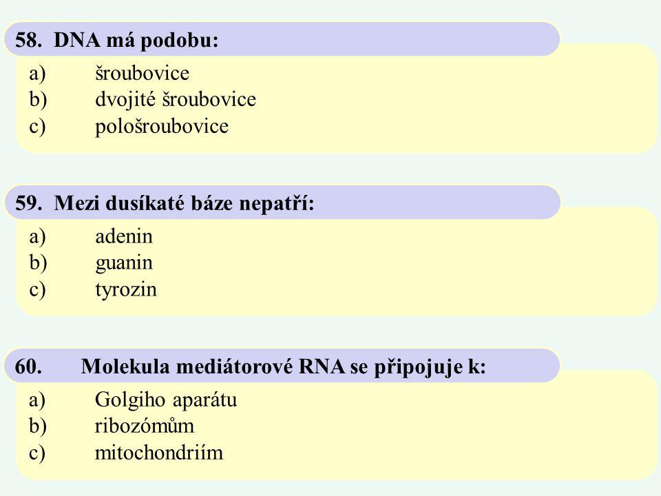 a)šroubovice b)dvojité šroubovice c)pološroubovice 58. DNA má podobu: a)adenin b)guanin c)tyrozin 59. Mezi dusíkaté báze nepatří: a)Golgiho aparátu b)