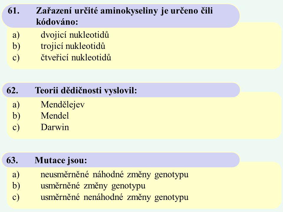 a)dvojicí nukleotidů b)trojicí nukleotidů c)čtveřicí nukleotidů 61.Zařazení určité aminokyseliny je určeno čili kódováno: a)Mendělejev b)Mendel c)Darw