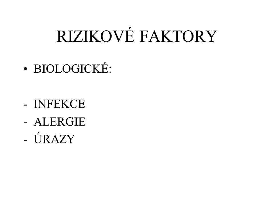 RIZIKOVÉ FAKTORY BIOLOGICKÉ: -INFEKCE -ALERGIE -ÚRAZY