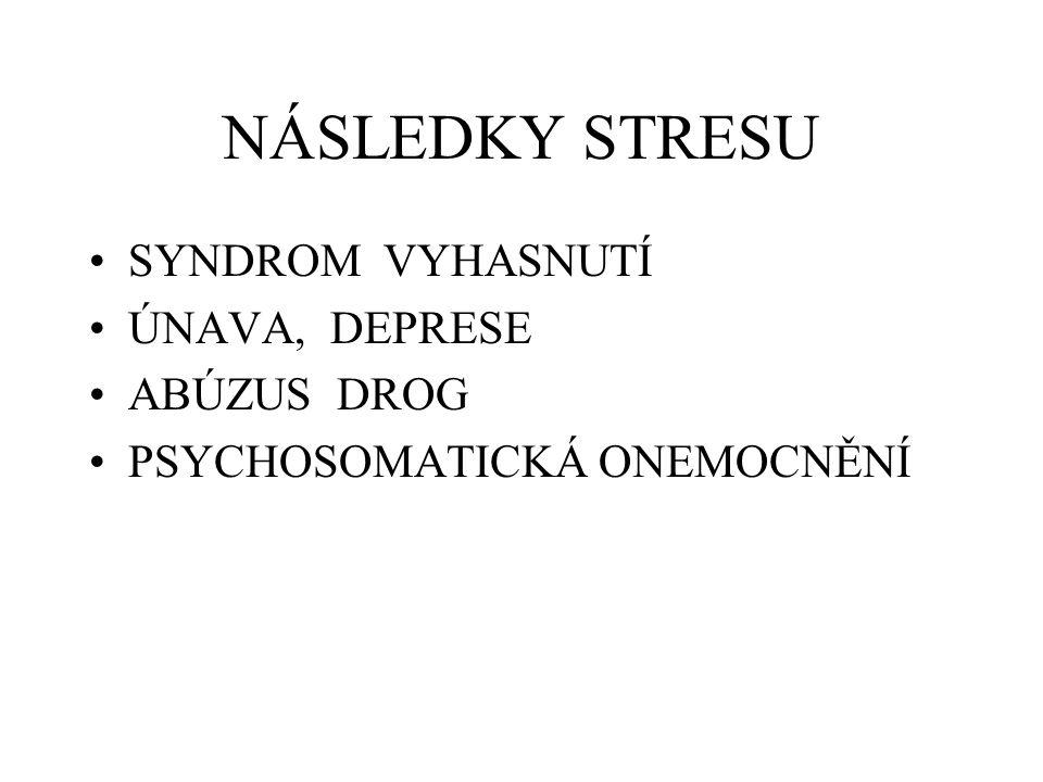 NÁSLEDKY STRESU SYNDROM VYHASNUTÍ ÚNAVA, DEPRESE ABÚZUS DROG PSYCHOSOMATICKÁ ONEMOCNĚNÍ