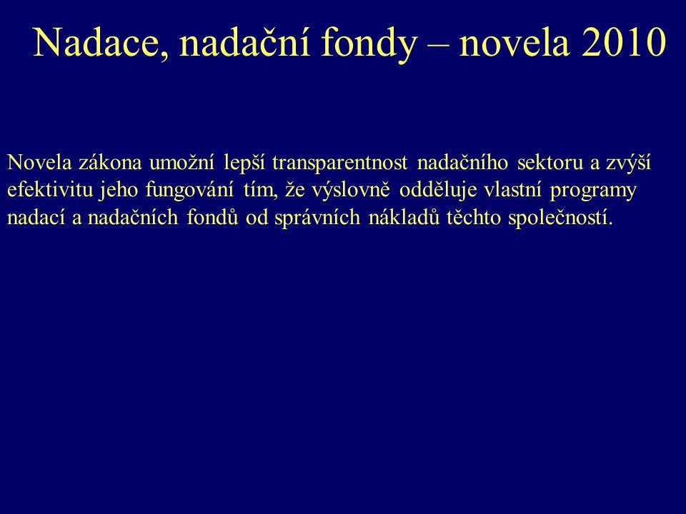 Nadace, nadační fondy – novela 2010 Novela zákona umožní lepší transparentnost nadačního sektoru a zvýší efektivitu jeho fungování tím, že výslovně odděluje vlastní programy nadací a nadačních fondů od správních nákladů těchto společností.