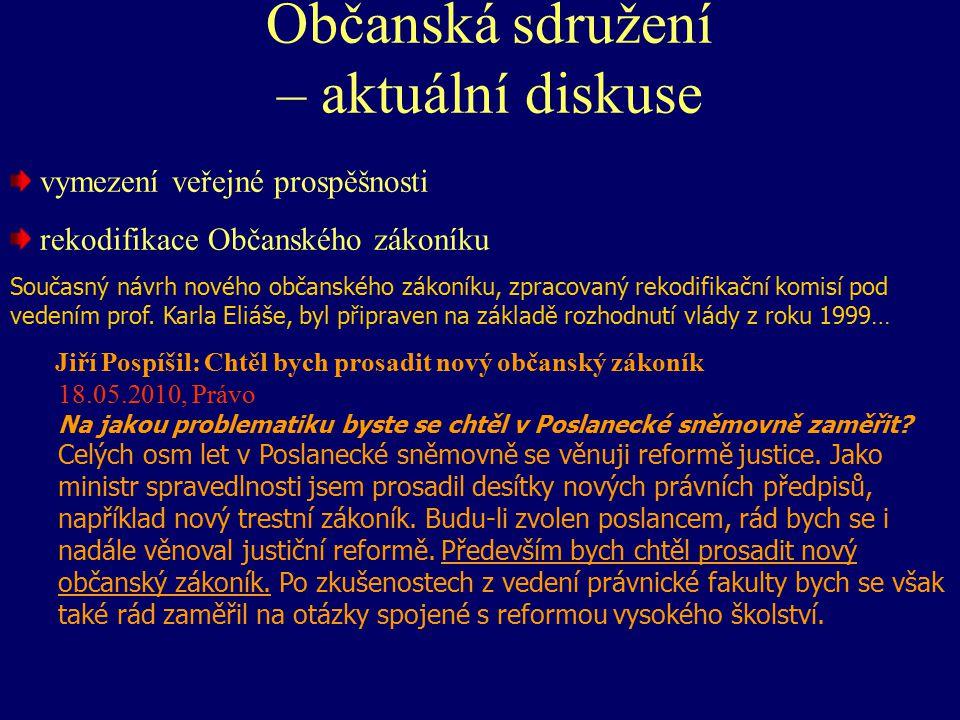Občanská sdružení – aktuální diskuse Veřejná prospěšnost § 121 - § 122 Spolky § 178 - § 264 (alespoň tři osoby vedené společným zájmem) Fundace - § 268 - § 352 (majetek vyčleněný k určitému účelu) Ústavy § 353 - § 360 (k poskytování společensky - např.