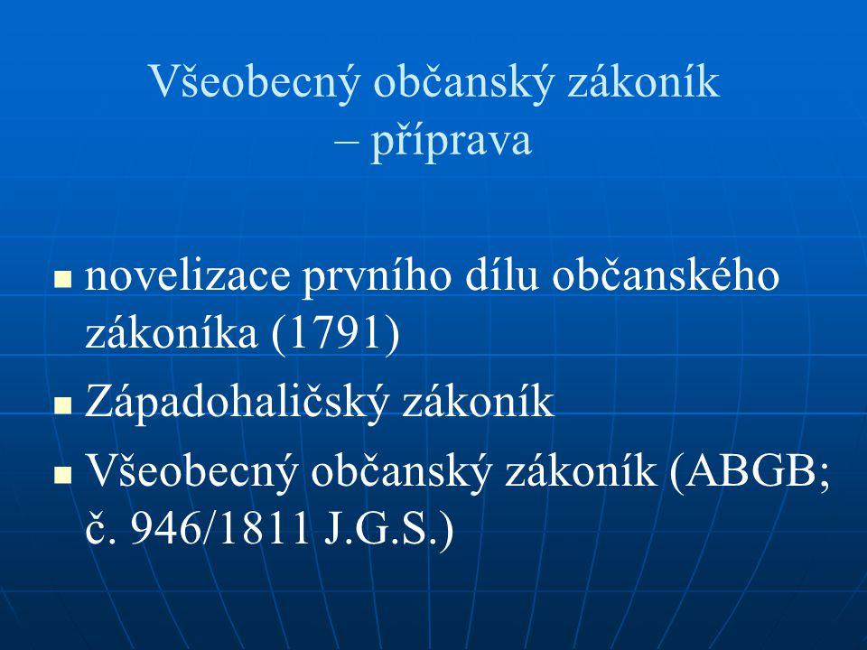 Všeobecný občanský zákoník – příprava novelizace prvního dílu občanského zákoníka (1791) Západohaličský zákoník Všeobecný občanský zákoník (ABGB; č. 9
