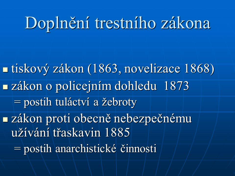 Doplnění trestního zákona tiskový zákon (1863, novelizace 1868) tiskový zákon (1863, novelizace 1868) zákon o policejním dohledu 1873 zákon o policejn