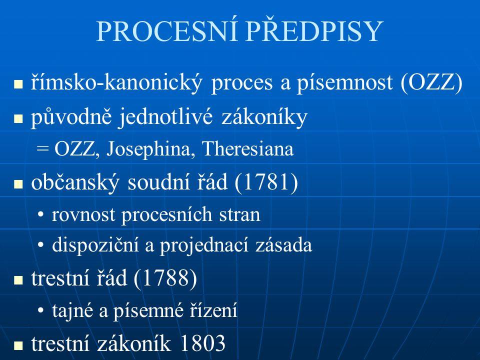 PROCESNÍ PŘEDPISY římsko-kanonický proces a písemnost (OZZ) původně jednotlivé zákoníky = OZZ, Josephina, Theresiana občanský soudní řád (1781) rovnos