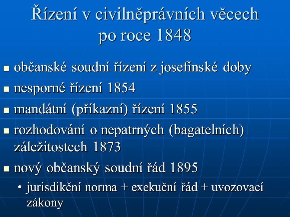 Řízení v civilněprávních věcech po roce 1848 občanské soudní řízení z josefínské doby občanské soudní řízení z josefínské doby nesporné řízení 1854 ne