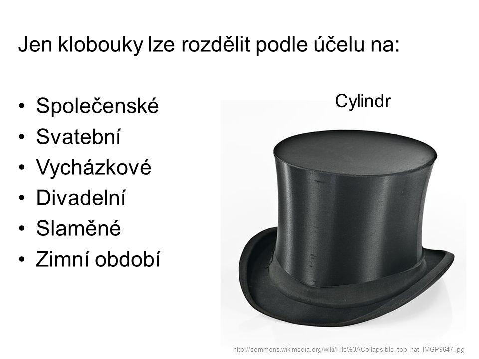 Jen klobouky lze rozdělit podle účelu na: Společenské Svatební Vycházkové Divadelní Slaměné Zimní období http://commons.wikimedia.org/wiki/File%3AColl