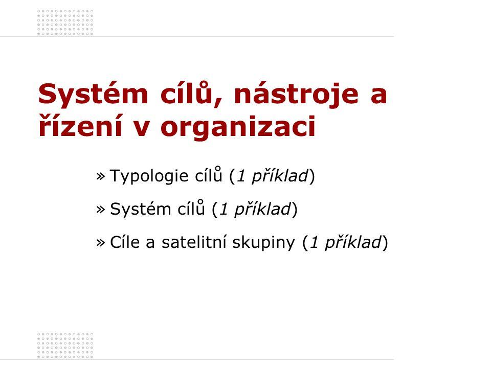 Systém cílů, nástroje a řízení v organizaci »Typologie cílů (1 příklad) »Systém cílů (1 příklad) »Cíle a satelitní skupiny (1 příklad)