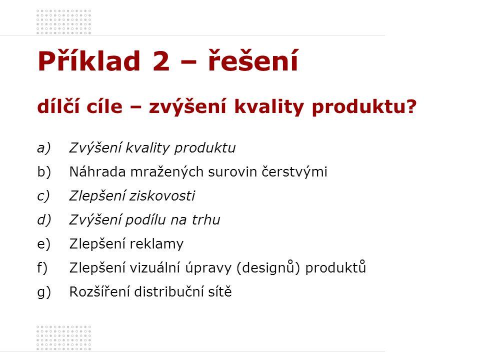 Příklad 2 – řešení dílčí cíle – zvýšení kvality produktu.