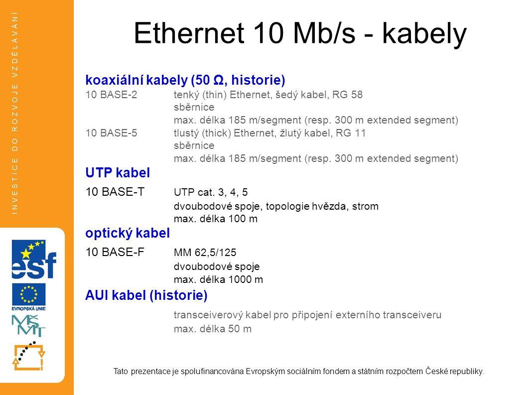 Ethernet 10 Mb/s - kabely koaxiální kabely (50 Ω, historie) 10 BASE-2tenký (thin) Ethernet, šedý kabel, RG 58 sběrnice max.