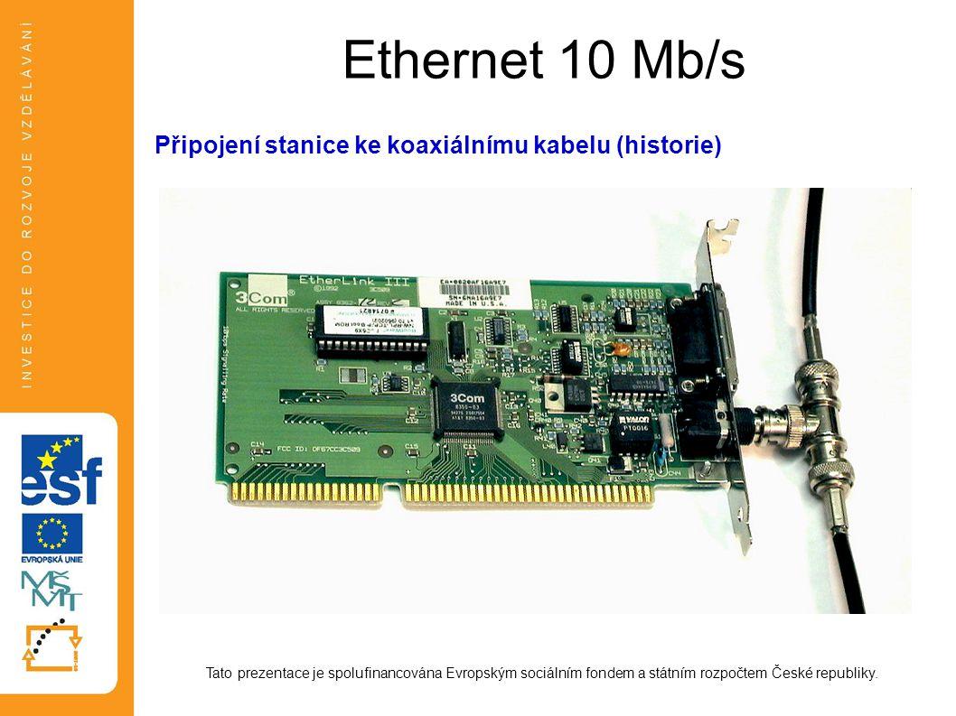 Ethernet - formát rámce Záhlaví (Preamble)zahájení rámce, synchronizace 62 bitů 101010..., 2 bity 1 Cílová adresa (Destination Ethernet Address) adresa příjemce, 48 bitů, hw adresa broadcast addr.: všechny bity 1 Zdrojová adresa (Source Ethernet Address) adresa odesílatele, 48 bitů Typ rámce (Length or Type)IEEE802.3: délka datového pole v bytech Ethernet II: typ paketu (>1500) Datadata, minimálně 46 B, maximálně MTU = 1500 B (MTU = Maximum Transmission Unit) CRC (Cyclic Redundance Check) Frame Check Sequence, 32 bit, vypočteno dle polynomu 100000100110000010001110110110111, tj.