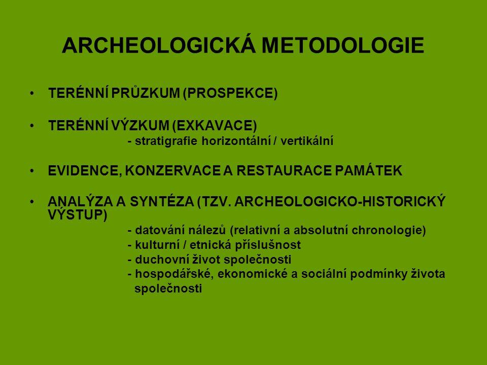 ARCHEOLOGICKÁ METODOLOGIE TERÉNNÍ PRŮZKUM (PROSPEKCE) TERÉNNÍ VÝZKUM (EXKAVACE) - stratigrafie horizontální / vertikální EVIDENCE, KONZERVACE A RESTAU