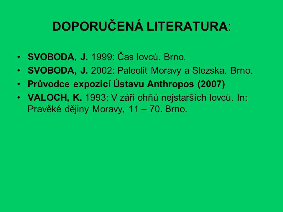 DOPORUČENÁ LITERATURA: SVOBODA, J. 1999: Čas lovců. Brno. SVOBODA, J. 2002: Paleolit Moravy a Slezska. Brno. Průvodce expozicí Ústavu Anthropos (2007)