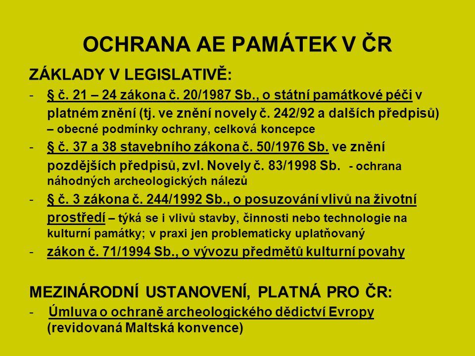 OCHRANA AE PAMÁTEK V ČR ZÁKLADY V LEGISLATIVĚ: -§ č. 21 – 24 zákona č. 20/1987 Sb., o státní památkové péči v platném znění (tj. ve znění novely č. 24