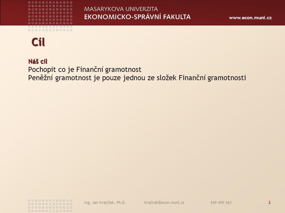 www.econ.muni.cz Ing. Jan Krajíček, Ph.D. krajicek@econ.muni.cz 549 495 3632 Cíl Cíl Náš cíl Pochopit co je Finanční gramotnost Peněžní gramotnost je