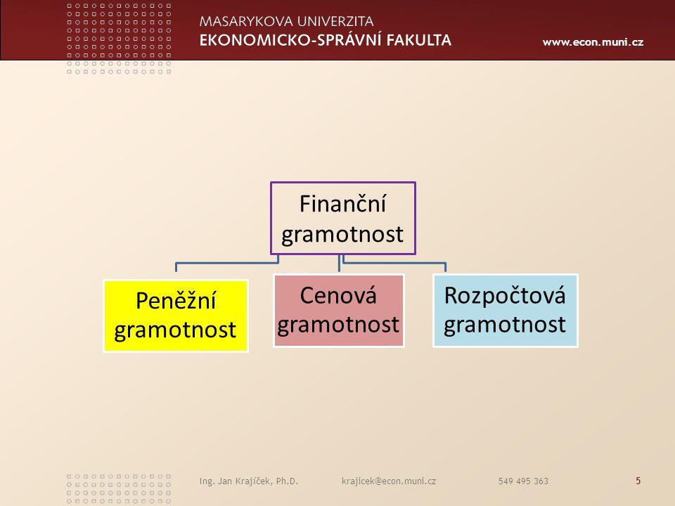 www.econ.muni.cz Ing. Jan Krajíček, Ph.D. krajicek@econ.muni.cz 549 495 3635 Finanční gramotnost Peněžní gramotnost Cenová gramotnost Rozpočtová gramo