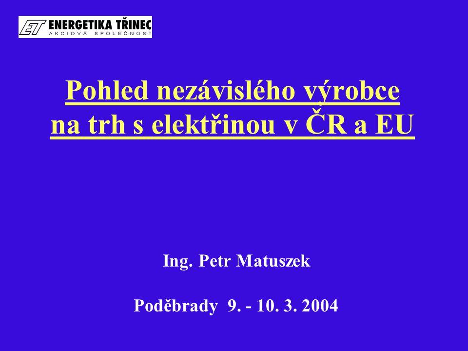 Pohled nezávislého výrobce na trh s elektřinou v ČR a EU Ing. Petr Matuszek Poděbrady 9. - 10. 3. 2004
