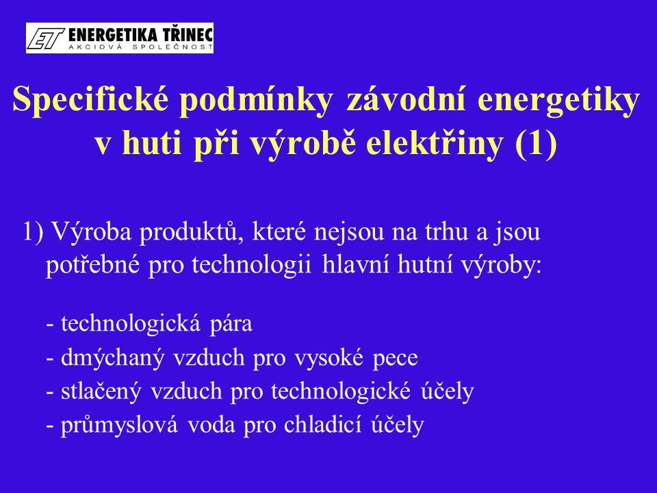 Specifické podmínky závodní energetiky v huti při výrobě elektřiny (1) 1) Výroba produktů, které nejsou na trhu a jsou potřebné pro technologii hlavní