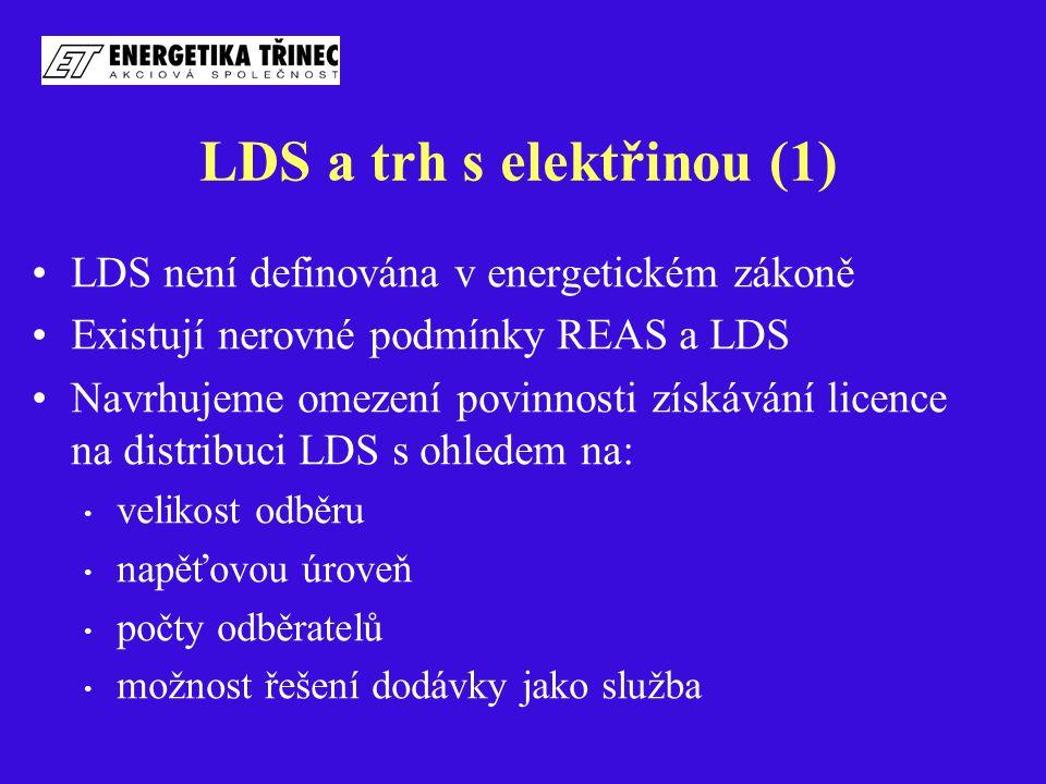 LDS a trh s elektřinou (1) LDS není definována v energetickém zákoně Existují nerovné podmínky REAS a LDS Navrhujeme omezení povinnosti získávání lice