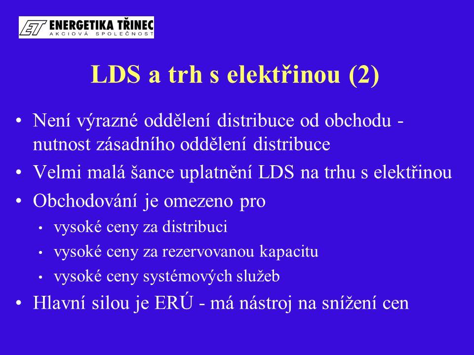 LDS a trh s elektřinou (2) Není výrazné oddělení distribuce od obchodu - nutnost zásadního oddělení distribuce Velmi malá šance uplatnění LDS na trhu