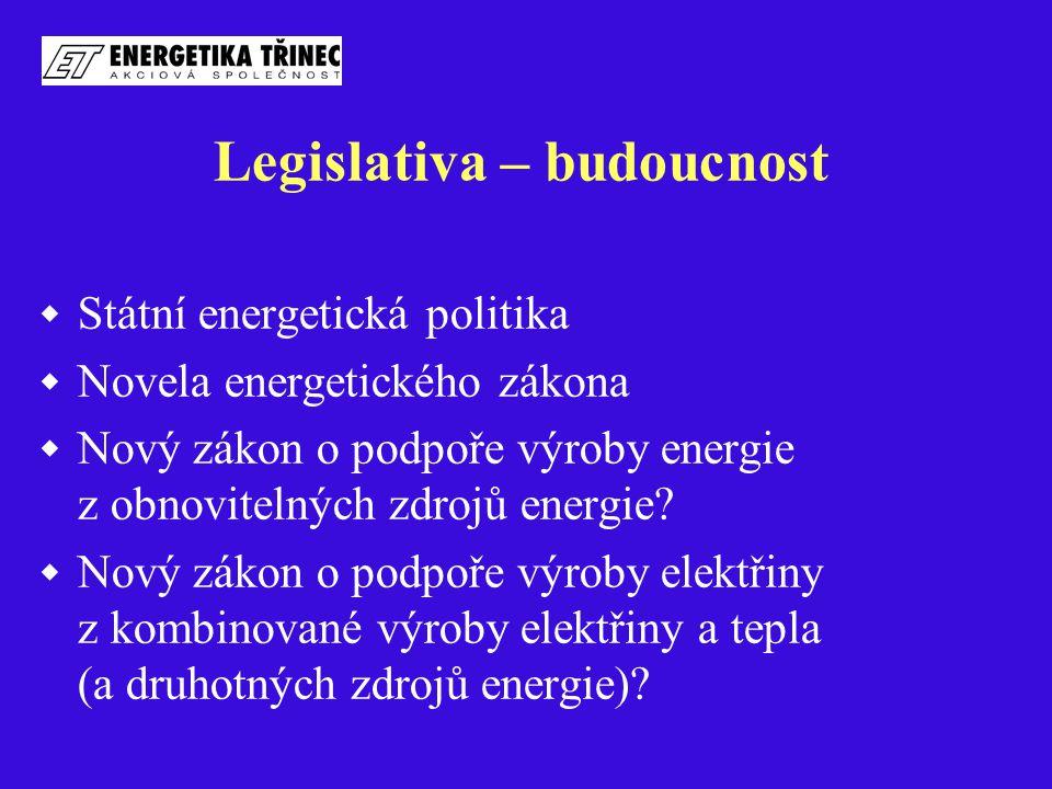 Legislativa – budoucnost  Státní energetická politika  Novela energetického zákona  Nový zákon o podpoře výroby energie z obnovitelných zdrojů ener