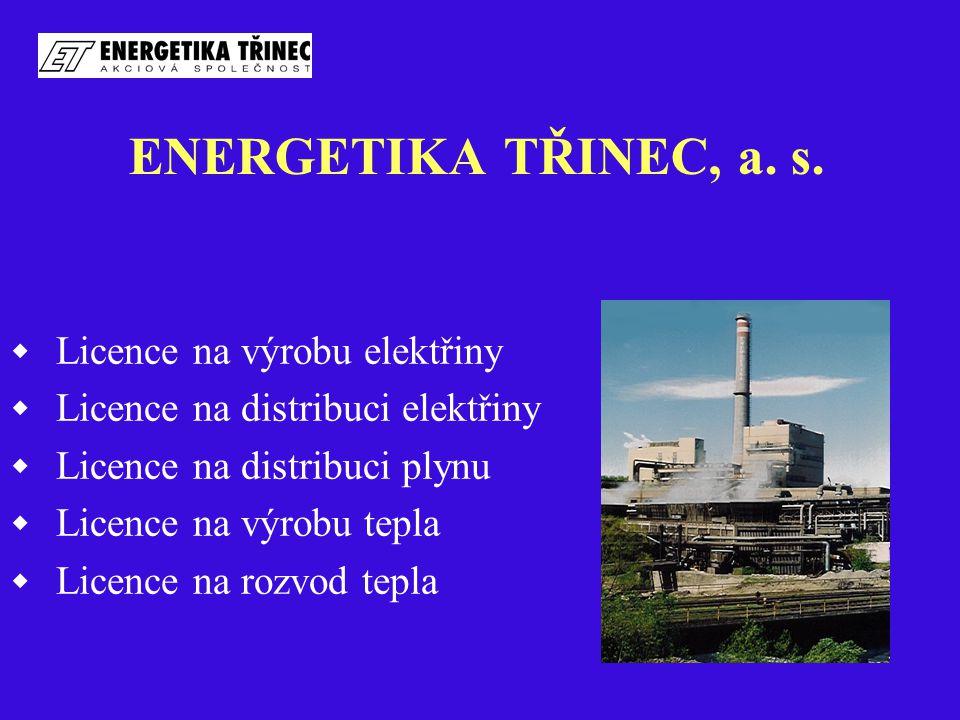 ENERGETIKA TŘINEC, a. s.  Licence na výrobu elektřiny  Licence na distribuci elektřiny  Licence na distribuci plynu  Licence na výrobu tepla  Lic