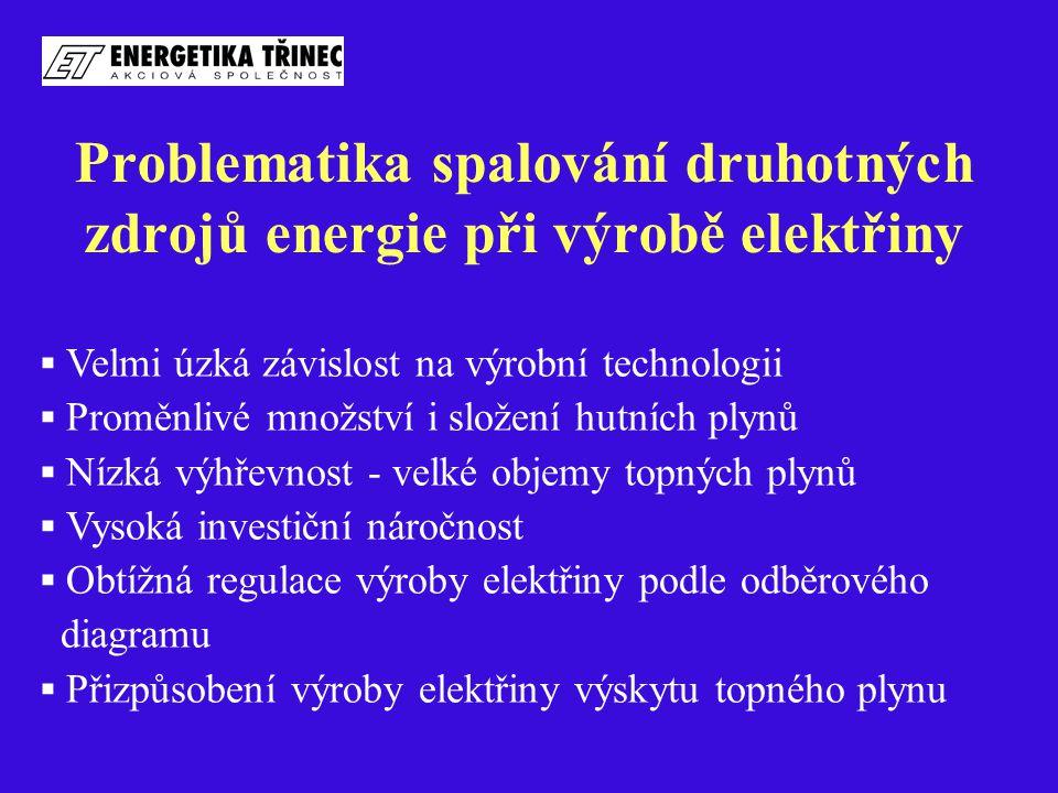 Problematika spalování druhotných zdrojů energie při výrobě elektřiny  Velmi úzká závislost na výrobní technologii  Proměnlivé množství i složení hu