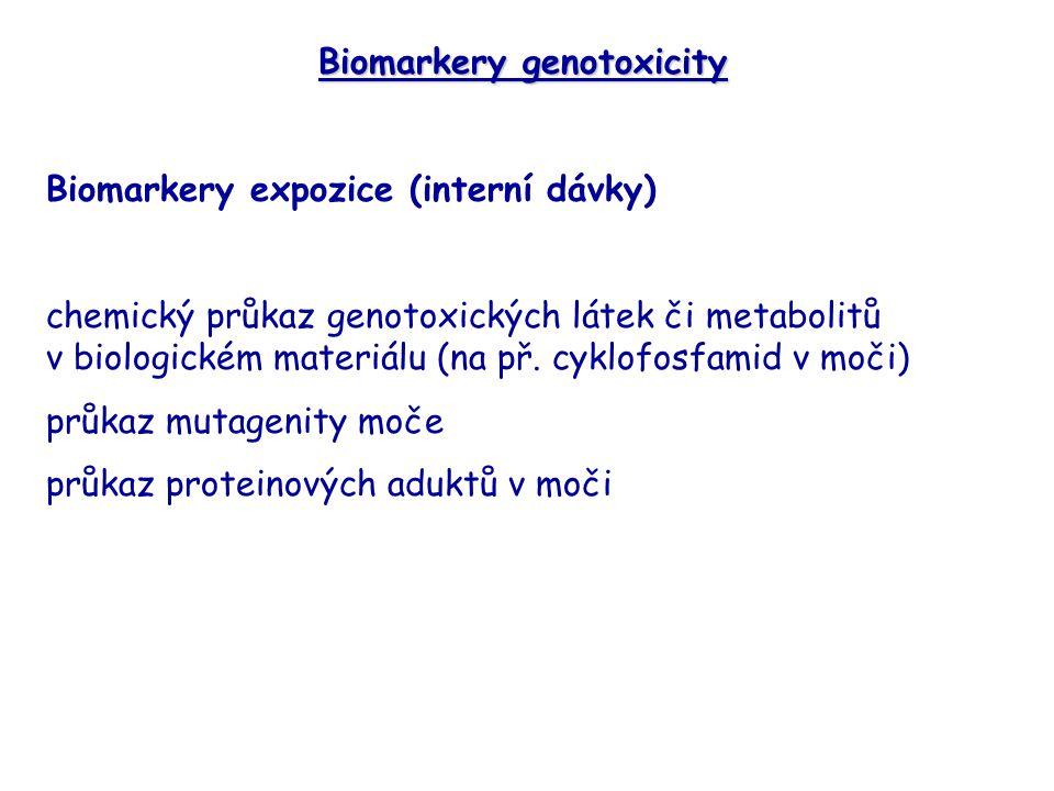 Biomarkery genotoxicity Biomarkery expozice (interní dávky) chemický průkaz genotoxických látek či metabolitů v biologickém materiálu (na př.