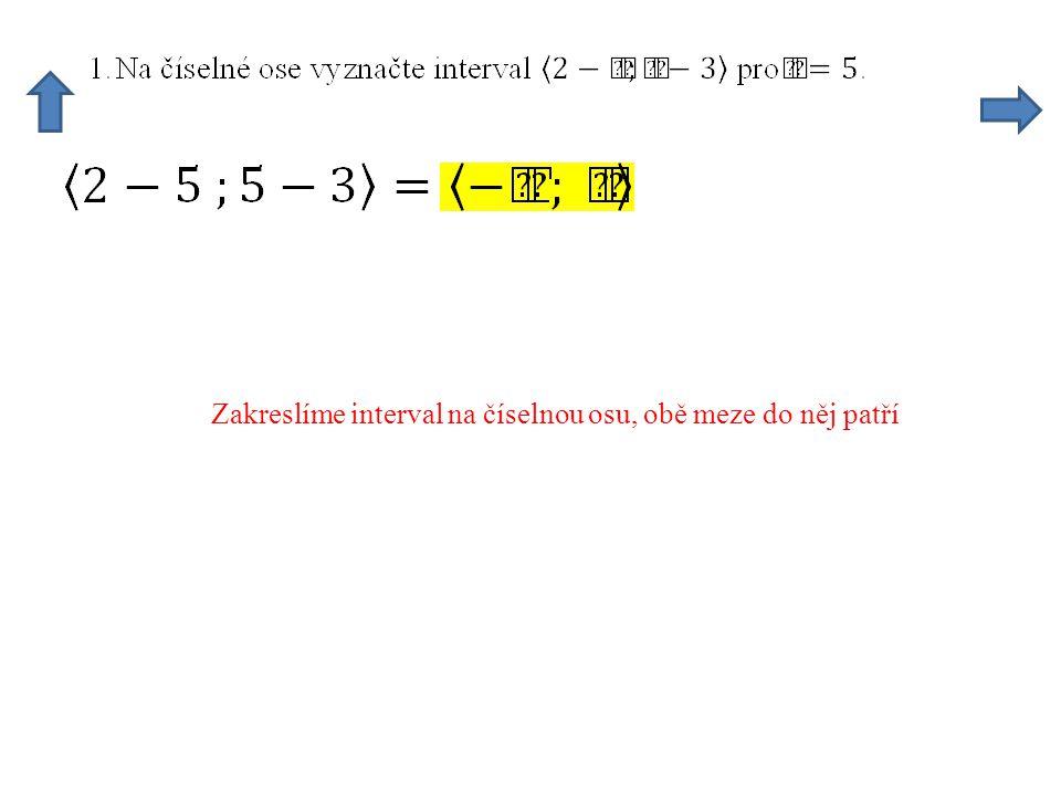 Zakreslíme interval na číselnou osu, obě meze do něj patří