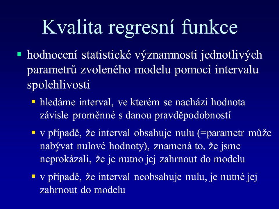 Kvalita regresní funkce  hodnocení statistické významnosti jednotlivých parametrů zvoleného modelu pomocí intervalu spolehlivosti  hledáme interval, ve kterém se nachází hodnota závisle proměnné s danou pravděpodobností  v případě, že interval obsahuje nulu (=parametr může nabývat nulové hodnoty), znamená to, že jsme neprokázali, že je nutno jej zahrnout do modelu  v případě, že interval neobsahuje nulu, je nutné jej zahrnout do modelu