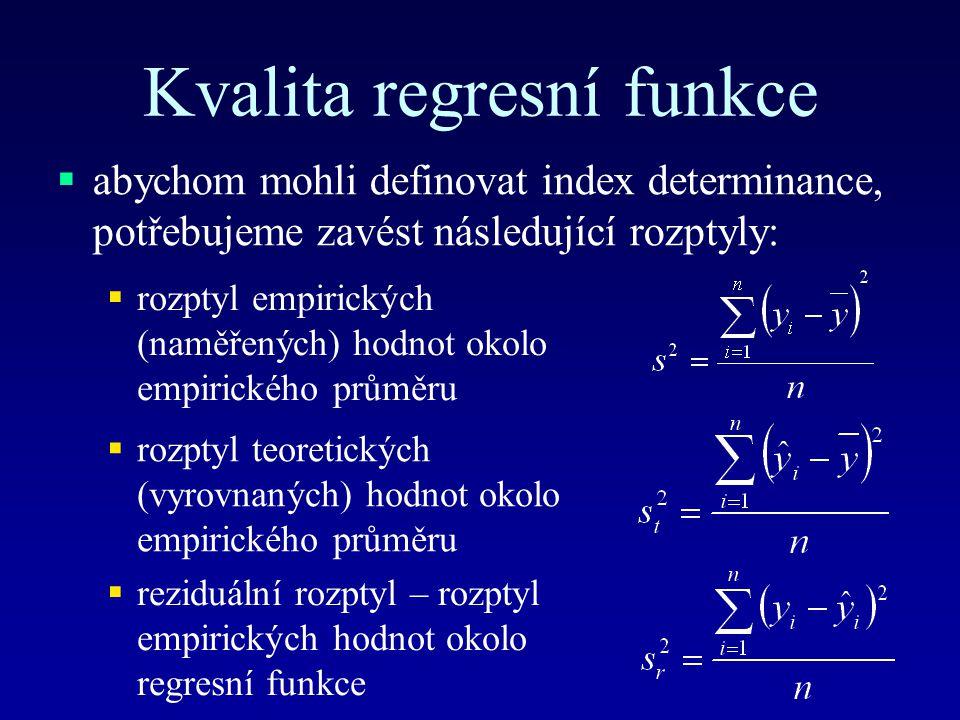Kvalita regresní funkce  abychom mohli definovat index determinance, potřebujeme zavést následující rozptyly:  rozptyl empirických (naměřených) hodnot okolo empirického průměru  rozptyl teoretických (vyrovnaných) hodnot okolo empirického průměru  reziduální rozptyl – rozptyl empirických hodnot okolo regresní funkce