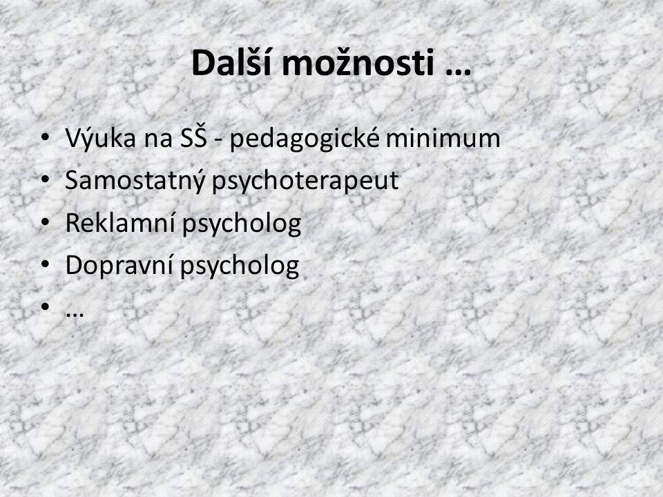 Další možnosti … Výuka na SŠ - pedagogické minimum Samostatný psychoterapeut Reklamní psycholog Dopravní psycholog …