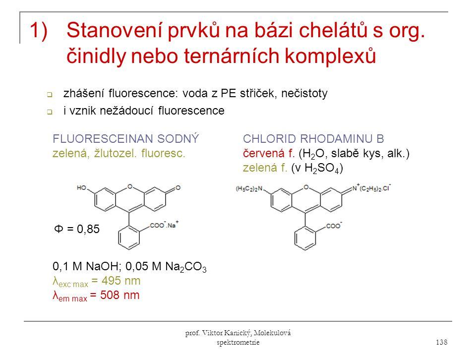 prof.Viktor Kanický, Molekulová spektrometrie 138 1)Stanovení prvků na bázi chelátů s org.