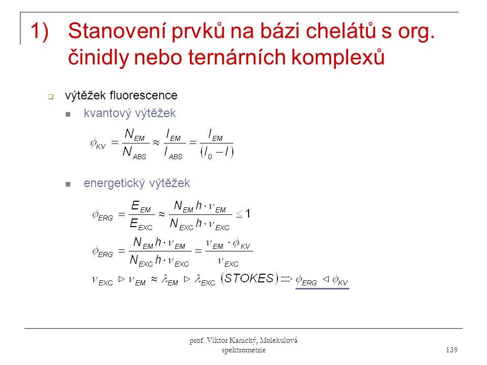 prof.Viktor Kanický, Molekulová spektrometrie 139 1)Stanovení prvků na bázi chelátů s org.