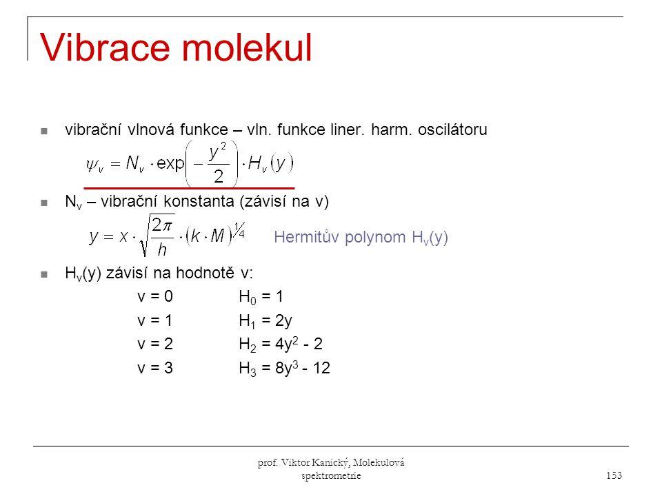 prof.Viktor Kanický, Molekulová spektrometrie 153 Vibrace molekul vibrační vlnová funkce – vln.