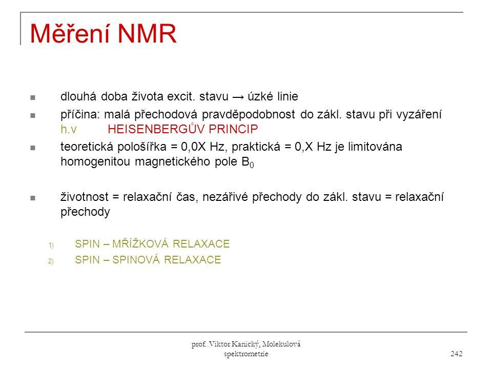 prof.Viktor Kanický, Molekulová spektrometrie 242 Měření NMR dlouhá doba života excit.